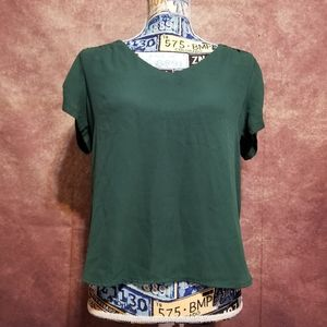 Meraki green high low blouse